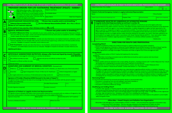 POLST Form for Hawaii provided by Kokua Mau