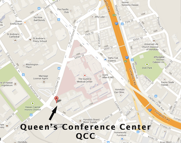 Map to the QCC in Honolulu