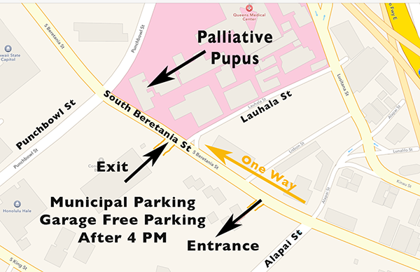 Map with parking tips for QCC in Honolulu